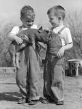 Boys in Striped Overalls Holding Piglet Fotografie-Druck von B. Taylor