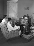 1950s Family Watching Television Photographie