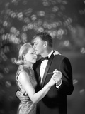 1960s Couple Woman in Evening Dress and Man in Tuxedo Slow Dancing Photographie