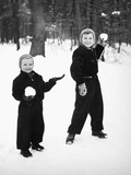 Two Brothers Play in the Snow, Ca. 1950 Photographic Print