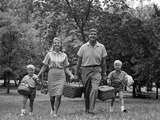1960s Family Picnic Walking Toward Photographic Print