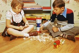 Boy and Girl Playing with Tinkertoys Photographic Print by William P. Gottlieb