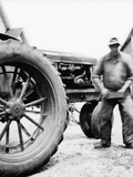 Farmer Is a Blur of Activity Working on His Tractor, Ca. 1938 Photographic Print