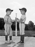 1960s Two Boys in Baseball Uniforms Choosing Sides Reproduction photographique