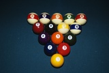 Billiard Balls Racked Up on Pool Table Photographic Print by D. Carriere