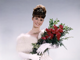 1960s Woman Prom Queen Wearing White Evening Dress Holding Bouquet of Flowers Red Roses Photographic Print