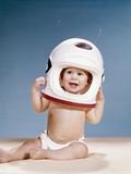1960s Baby Wearing Styrofoam Astronaut Helmet Photographic Print