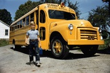 School Bus Dropping Off Child at Home Photographic Print by William Gottlieb