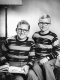 Two Brothers Pose with a Book on their Living Room Couch, Ca. 1953 Photographic Print