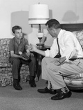 1960s Father Talking to Son Serious Facial Expressions Photographic Print