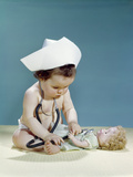 1960s Baby Wearing Nurse Nurse's Cap Stethoscope Listening to Doll Heartbeat Chest Photographic Print