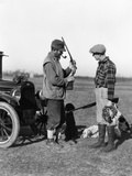 1930S Two Men Hunters by Car Looking at Shotgun with Dogs and Brace of Birds Photographic Print