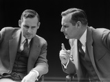 1930s-1940s Businessman Talking Seriously to Himself or His Twin Alter Ego Photographic Print