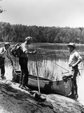 1930s Three Fishermen Standing Beside Canoe Holding Fishing Gear Photographic Print