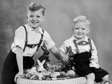 Two Brothers Sit with Easter Decorations, Ca. 1948 Photographic Print