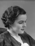 1930s Thoughtful Brunette Woman in Profile with Finger Wavy Hair Photographic Print