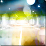 Tunnel Lights Stretched Canvas Print by Parvez Taj