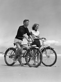 1950s Teenage Boy and Girl with Bikes on the Beach Photographic Print