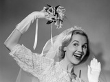 1950s Bride Throwing Bouquet and Waving Goodbye Smiling Photographic Print