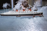 Boy Playing with Toy Ocean Liner Photographic Print by William Gottlieb