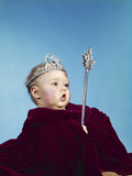 1960s Baby Dressed as Royal Queen in a Velvet Robe Cloak Cape Rhinestone Tiara Crown and Scepter Photographic Print
