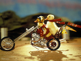 1990s Two Baby Ducklings Riding on Chopper Style Motorcycle Stampa fotografica