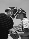 1950s Boys in Baseball Uniforms Face to Face Arguing Umpire and Catcher Photographic Print