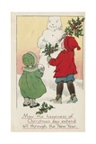 May the Happiness of Christmas Day Extend All Through the New Year Postcard Giclee Print