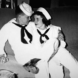 "A Sailor Poses with His""Sailor"" Girlfriend at a Party, Ca. 1955 Photographic Print"