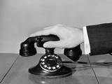 1930s-1940s Man's Hand on Telephone Photographic Print