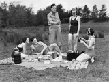 1930s Group of Five Young Men and Women Enjoying Picnic in Woods All But One Wearing Swimsuits Photographic Print
