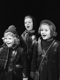 1940s Three Children Singing Caroling Photographic Print