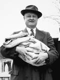 Mature Man Holds a Baby, Ca. 1950 Fotografisk trykk