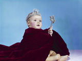 1960s Baby Dressed as Royal Queen in Velvet Robe Cloak Cape Rhinestone Tiara Crown and Scepter Wand Photographic Print
