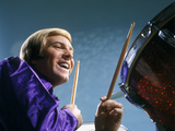 1970s Laughing Blond Man Musician Playing Drums Wearing Purple Shirt Photographic Print