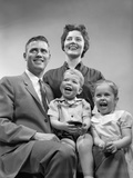 1950s Family Smiling Posing Together Photographic Print