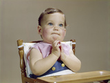 1960s Baby Hands Together at Chin Thinking Thoughtful Facial Expression Photographic Print