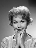 1950s-1960s Happy Bemused Woman Facial Expression Both Hands to Chin Smile Photographic Print