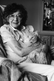 1980s Elderly Senior Woman Wearing Glasses Holding Tabby Cat in Her Arms Photographic Print