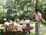 African American Family Backyard Picnic Barbecue Photographie