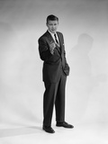 1960s Man in Business Suit Standing Pointing Finger Photographic Print