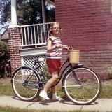 Young Girl on Her New Bike, Ca. 1965 Photographic Print