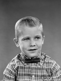 1950s-1960s Portrait Smiling Blond Boy Wearing Plaid Madras Shirt and Bow Tie Photographic Print