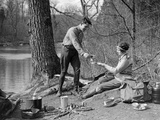 1920s-1930s Man and Woman Camping by Lake Having Picnic Photographic Print