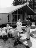 1950s Family Grilling Hamburgers Beside Pool in Backyard Cookout Photographic Print