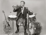 1970s One-Man Band Playing Instruments Photographic Print