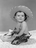 1960s Baby Girl Wearing Cowboy Hat Toy Holster and Guns Indoor Photographic Print
