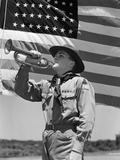 1940s Boy Scout Playing Bugle in Front of 48 Star American Flag Photographic Print