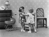 1940s Two Girls Playing with Dolls Photographic Print