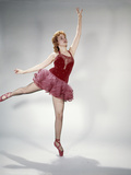 1960s Awkward Teen Girl Red Velvet Costume Pink Net Tutu Attempting Arabesque En Pointe Photographic Print